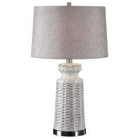 Uttermost Lamps Kansa Distressed White Table Lamp ...