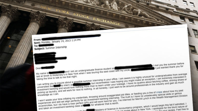 Unapologetically Honest\u0027 Wall Street Internship Cover Letter from