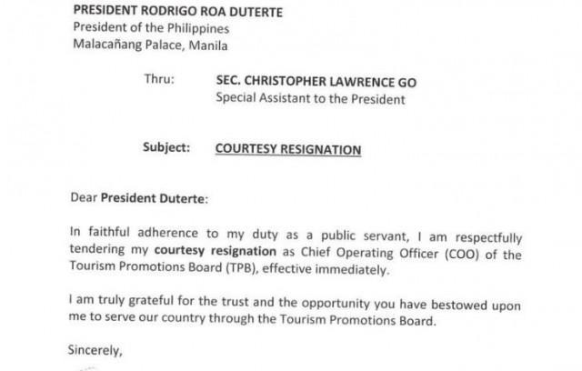 Cesar Montano thanks Duterte in resignation letter News GMA News - resignationletter