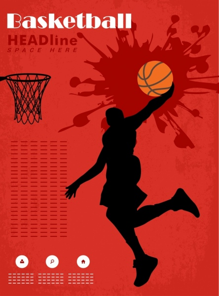 Basketball Banner Template Red Grunge Design Player Silhouette
