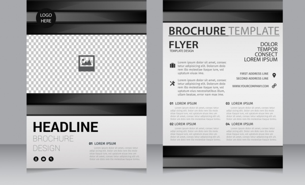 Business Brochure Template Black White Checkered Decoration-vector - black and white flyer template