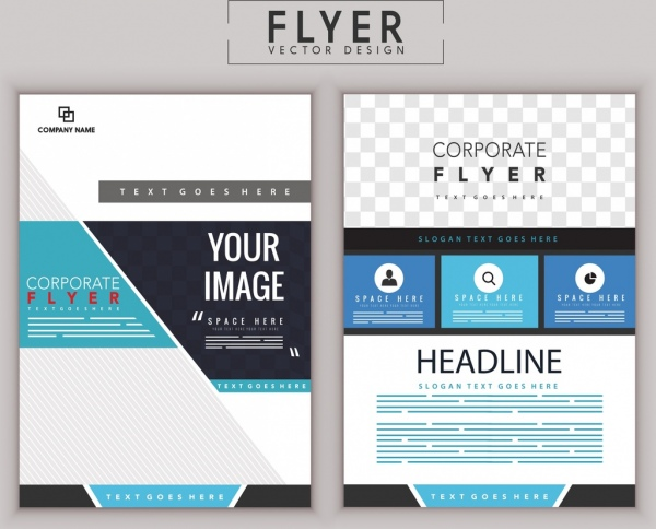 Corporate Flyer Template Modern Flat Decoration-vector Icon-free - corporate flyer template