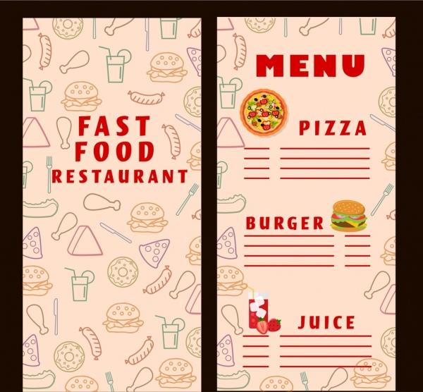 Fast Food Menu Template Food Icons Vignette Background-vector Trust