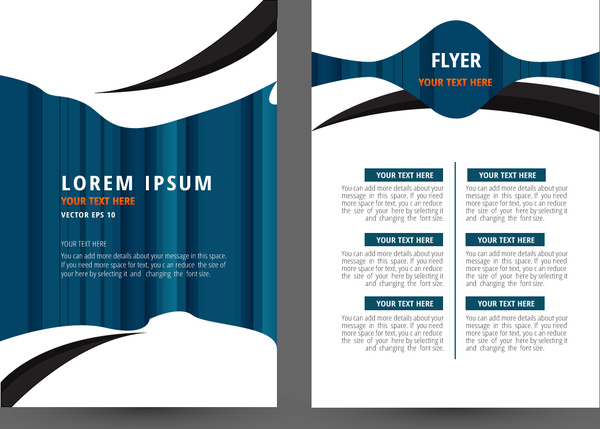Flyer Template Design With White And Blue Background-vector - flyer template