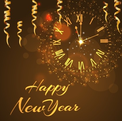 Happy New Year Golden Elements Background Vector-vector Background