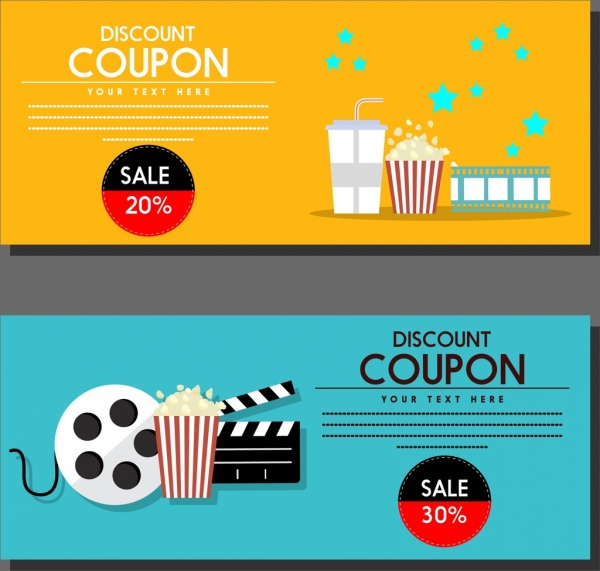 Movie Discount Coupon Templates Colored Symbols Icons Ornament - discount coupon template