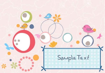 Cute Playful Birds Vector Background-vector Background-free Vector