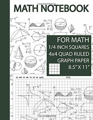 Math Notebook 1/4 inch Squares 1/4 Inch Squares Graphing Paper