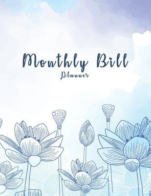 Monthly Bill Planner Watercolor Blue Flower Cover, Daily Weekly