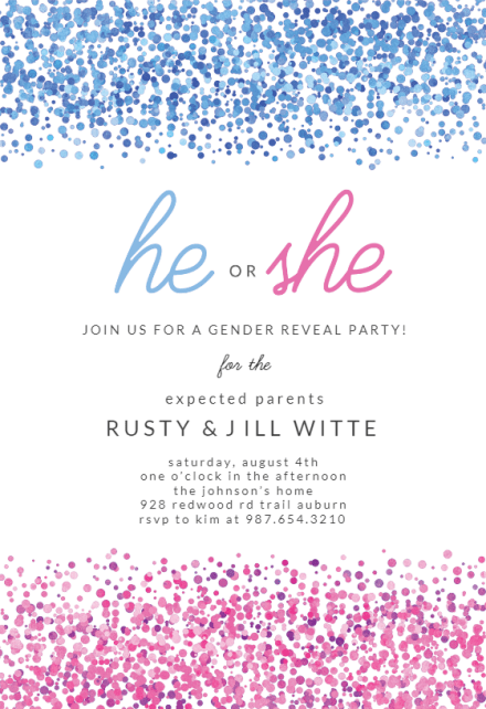 Baby Or Text Blue Pink Dots Gender Reveal Invitation Template Free