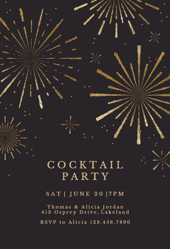 Graduation Invitation Card Template Golden Fireworks - Cocktail Party Invitation Template