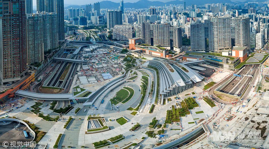 航拍香港西九龍高鐵站 即將投入運營 - 海外網