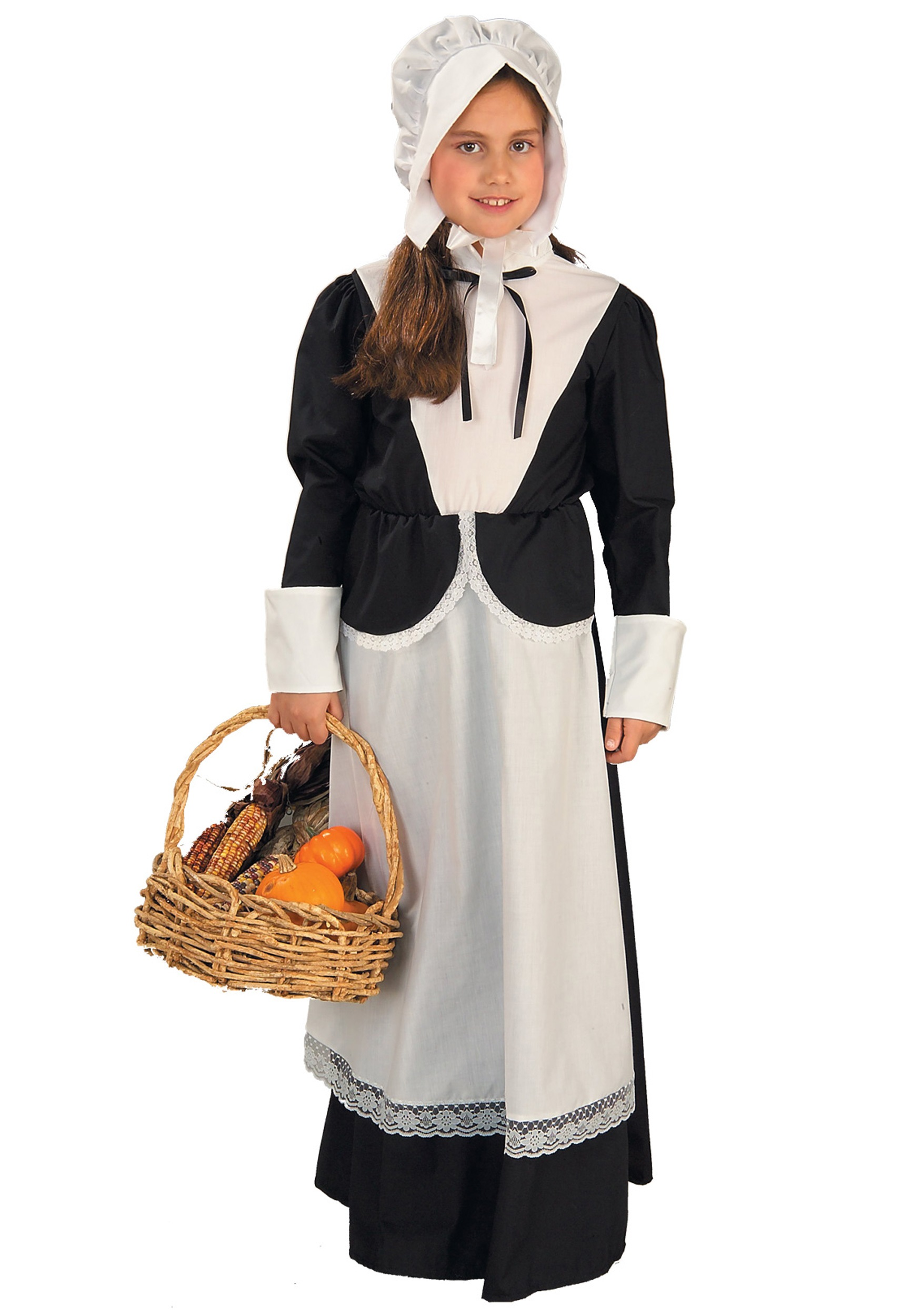 Colonial Girls Pilgrim Costume Kids Thanksgiving Holiday