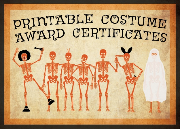 10 Free Costume Award Certificates! Printables - Halloween - free award certificates