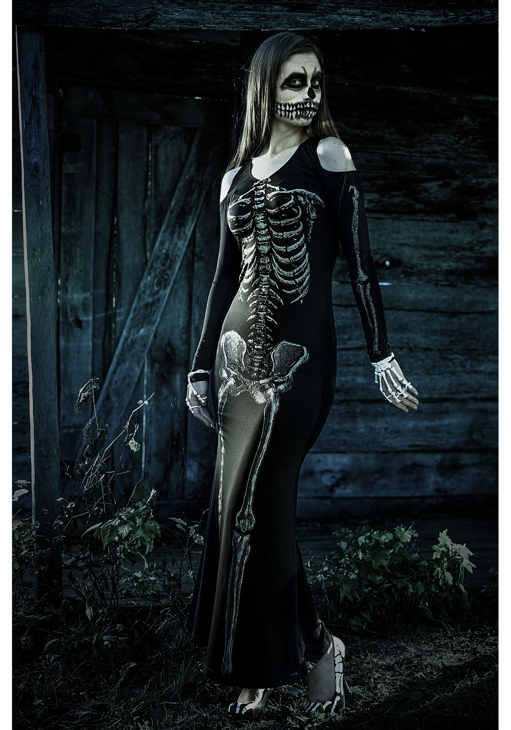 Baby Costumes Uk Women 39;s Bone Appetit Skeleton Long Dress Costume