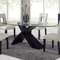 Global Furniture Exclaim Oval Glass Dining Table at Hayneedle