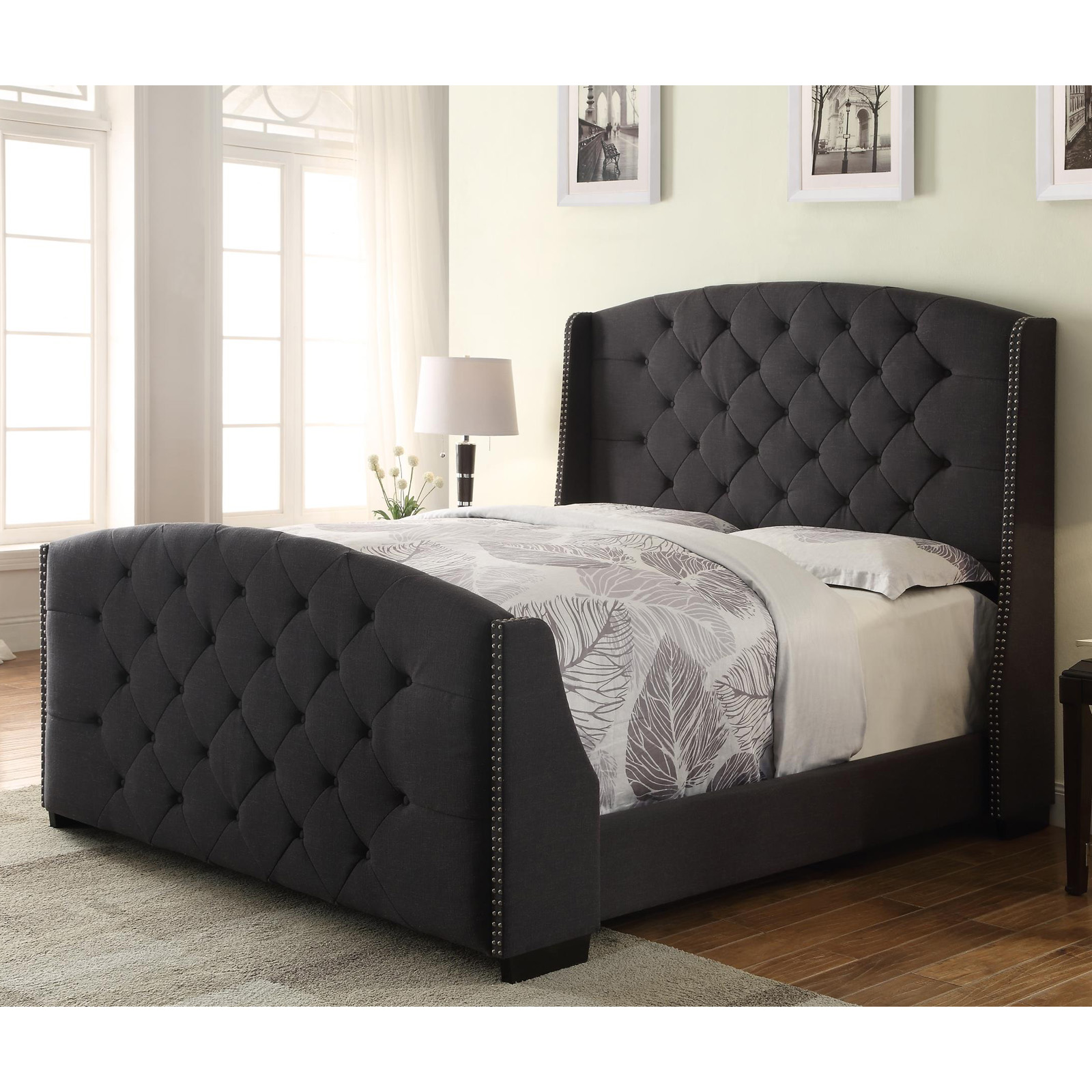 Tufted Queen Bed Tufted Wingback Upholstered Queen Bed At Hayneedle