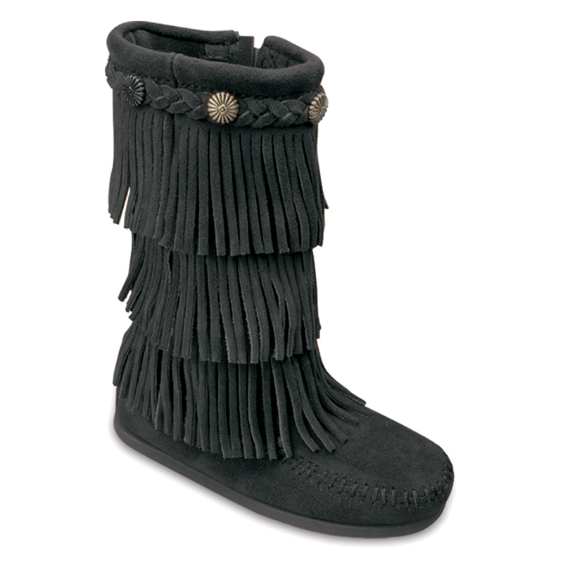 Minnetonka Childrens 3 Layer Fringe Boots Black Suede