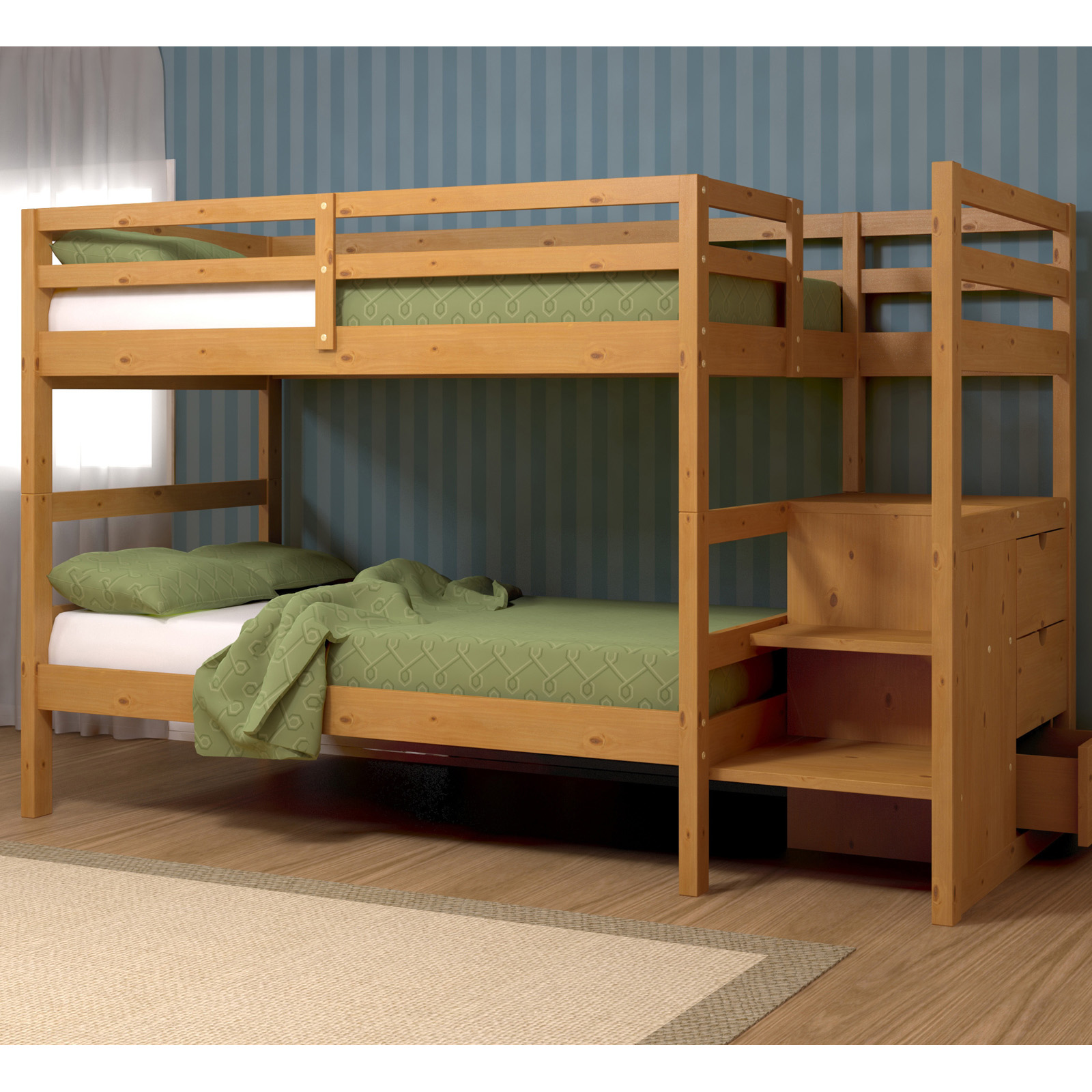 Bunk Bed Melbourne Melbourne Honey Pine Twin Over Twin Stairway Bunk Bed With