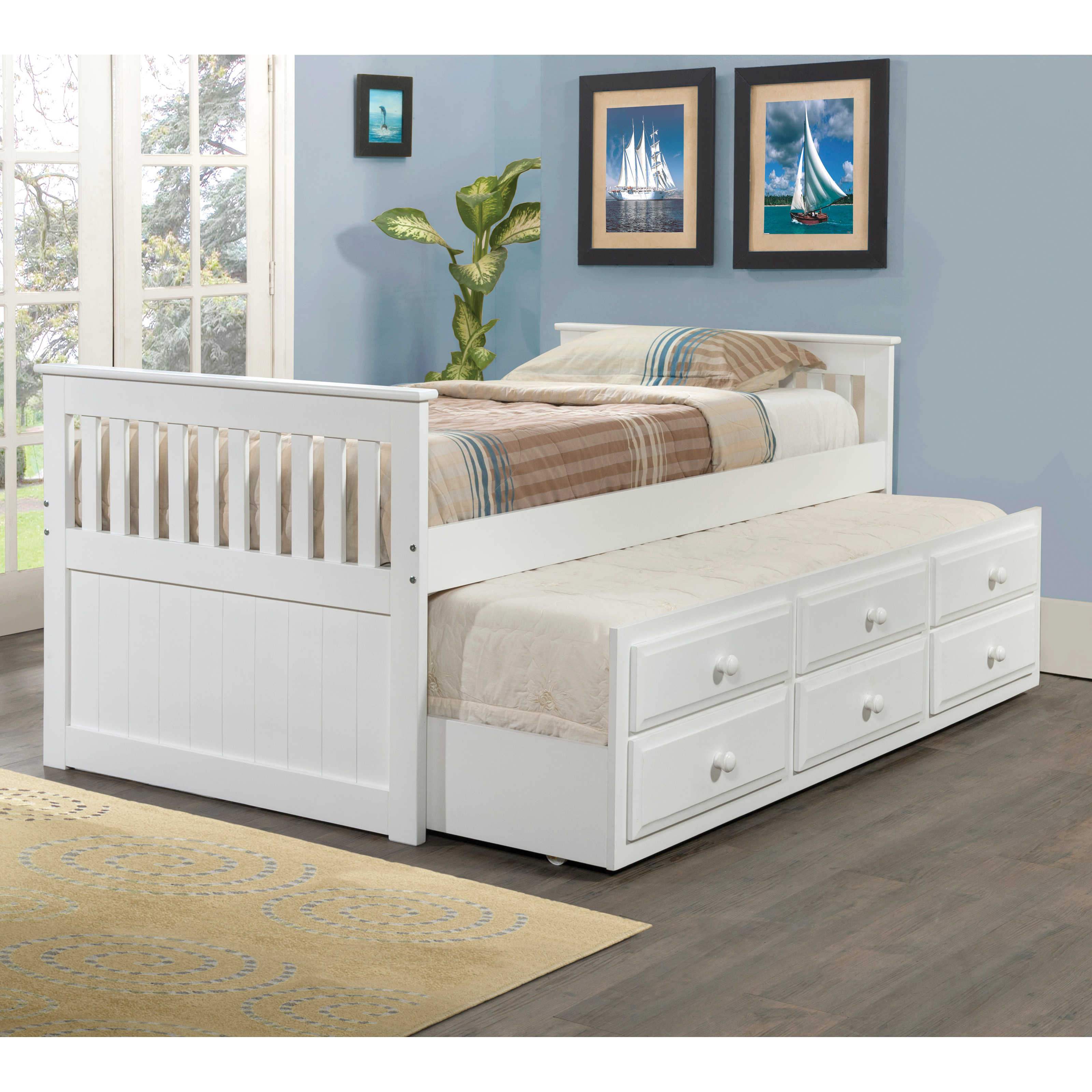 White Trundle Bed Donco Kids Captains Twin Trundle Bed White Ebay