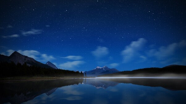 Night Landscape Mountains Reflection, HD Nature, 4k Wallpapers