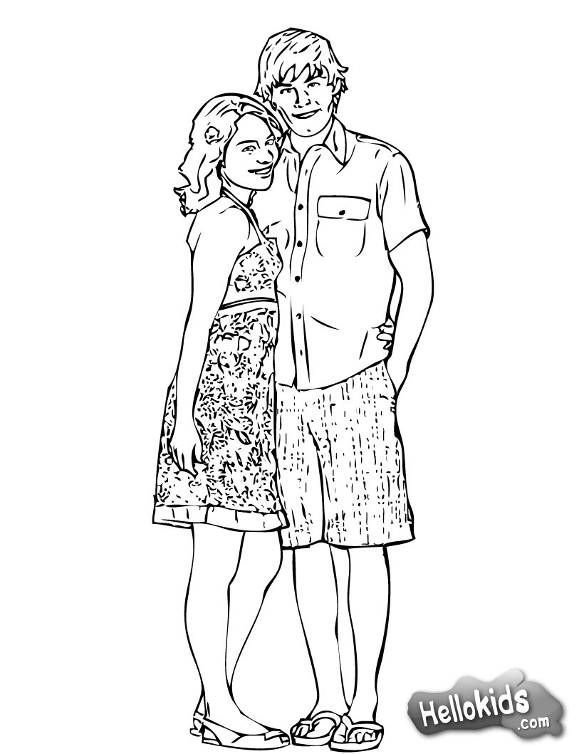 Hsm gabriella and troy coloring page color online print high school musical poster