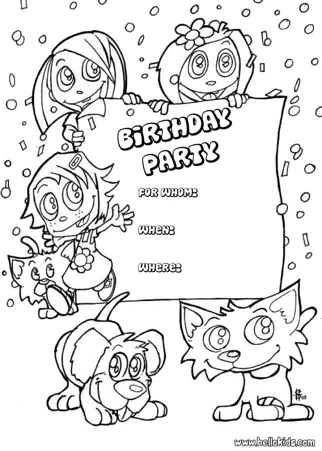 Kids and animals  birthday party invitation coloring pages