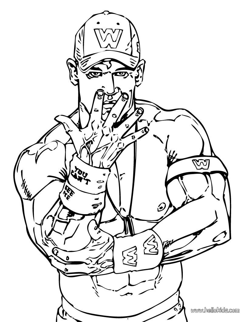 Wrestler john cena coloring page color online print