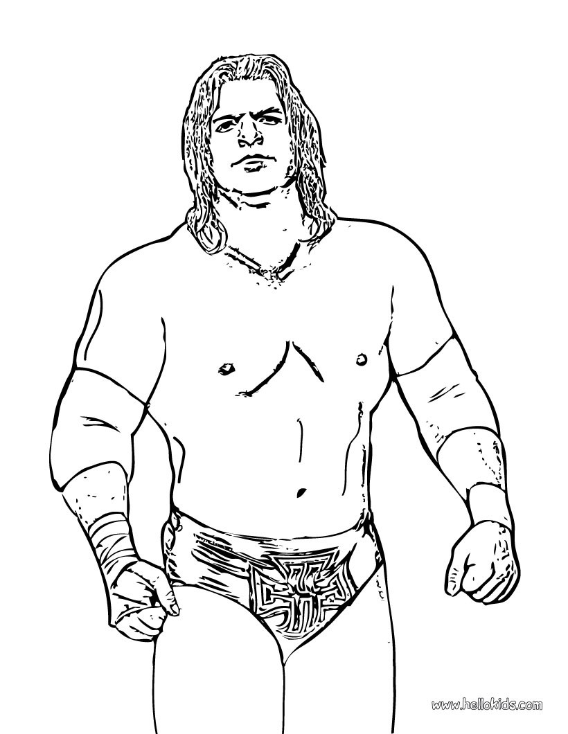 Wrestler triple h coloring page