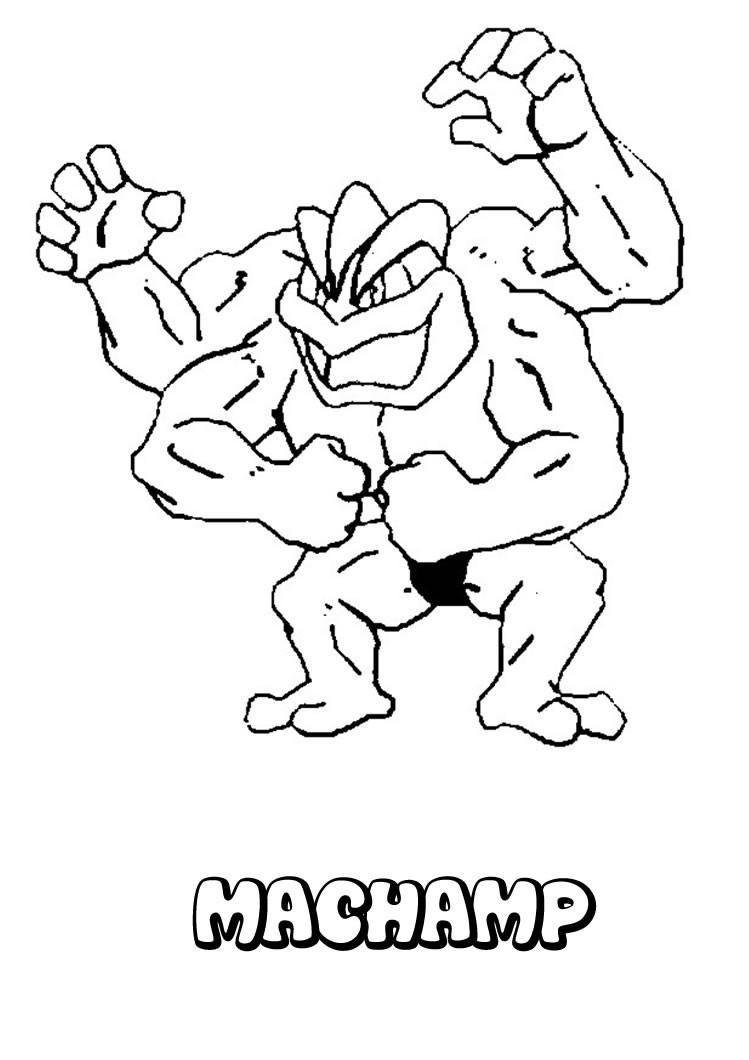 Machamp pokemon coloring page