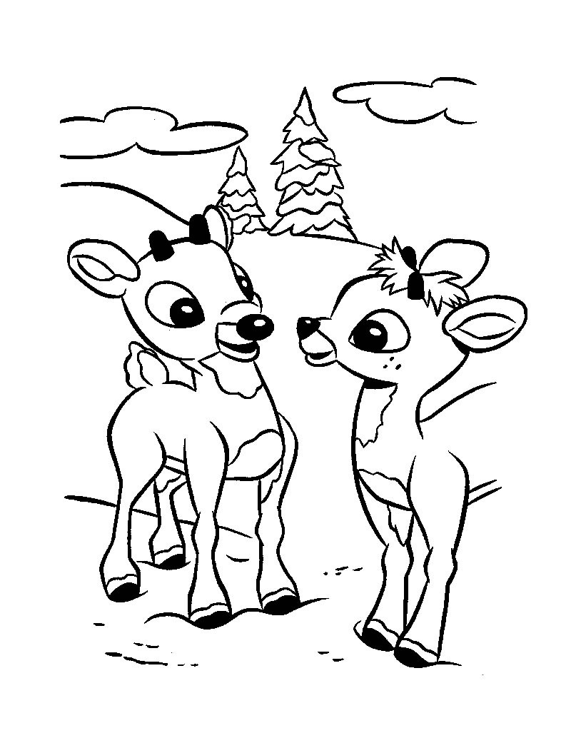 Christmas reindeer fawns rudolph and friend coloring page