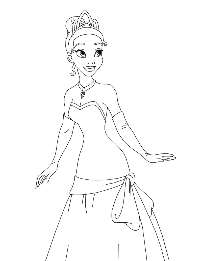 Tiana the princess coloring page