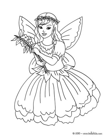 Fairy with butterfly coloring pages - Hellokids