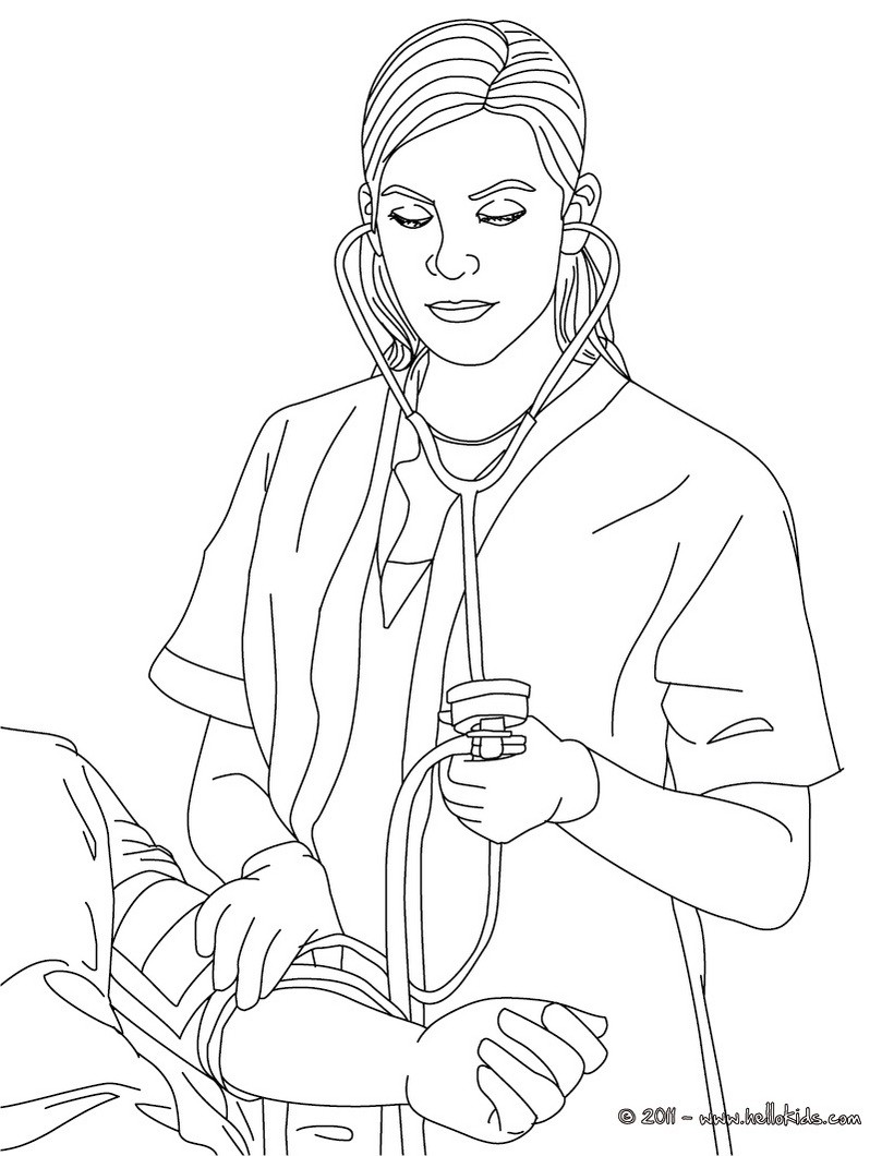 Nurse ckecking blood pressure coloring page