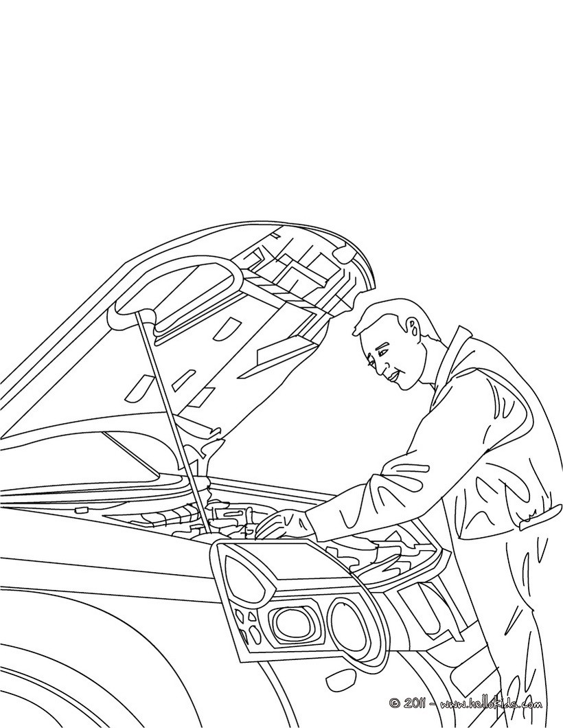 Printable coloring pages jobs - Coloring Pages Jobs And Professions Mechanic Job Download