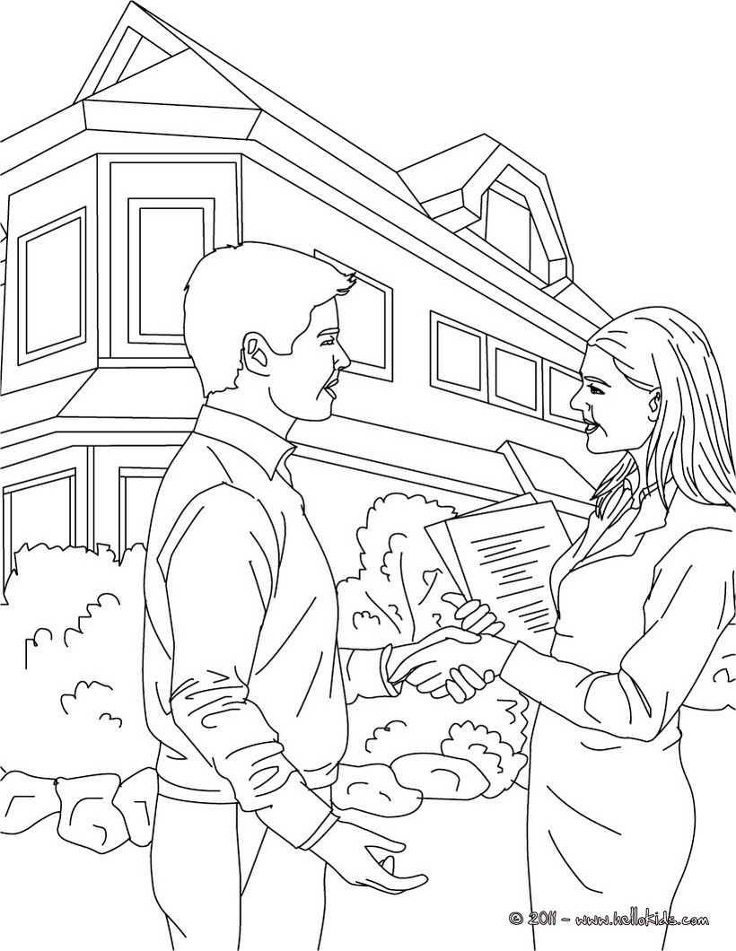 Real estate agent coloring page