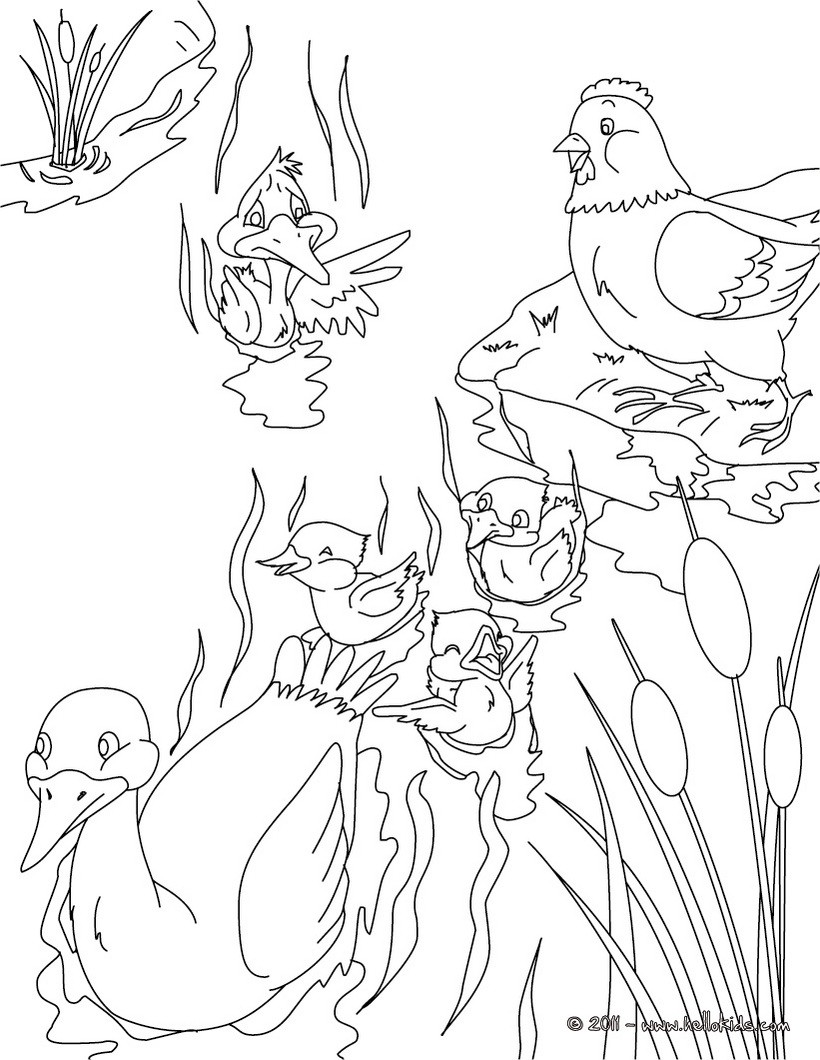 The ugly duckling tale coloring page