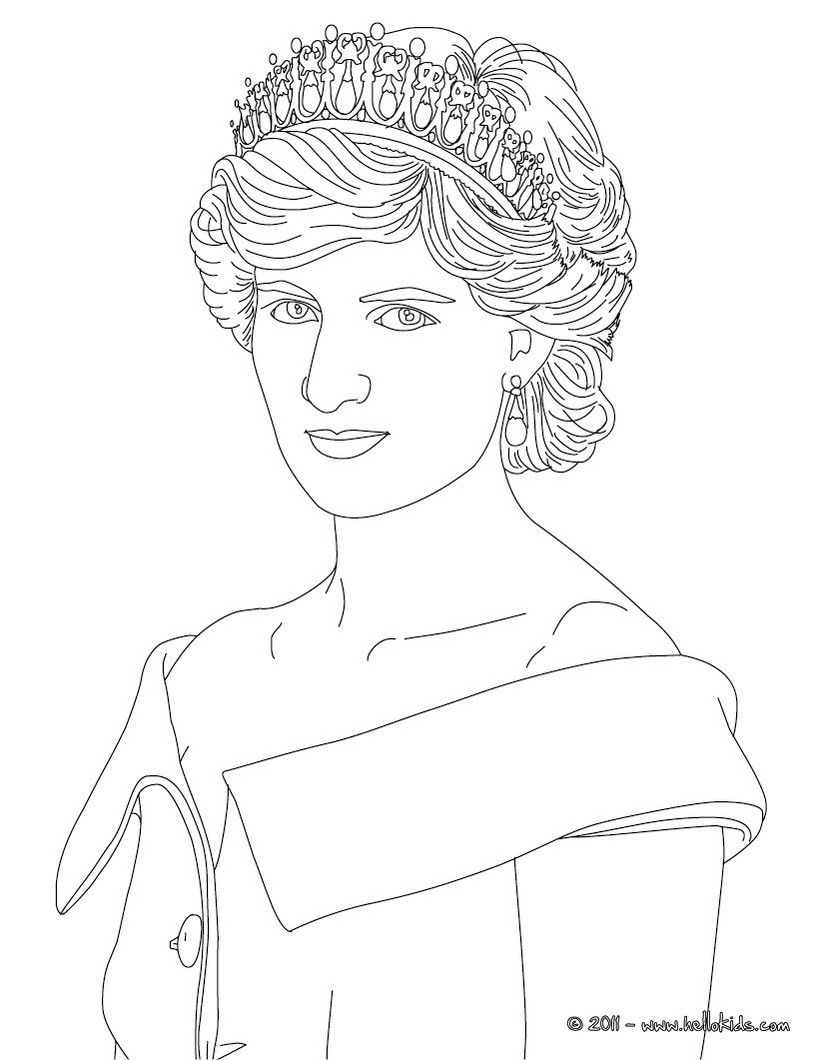Princess diana of wales coloring page
