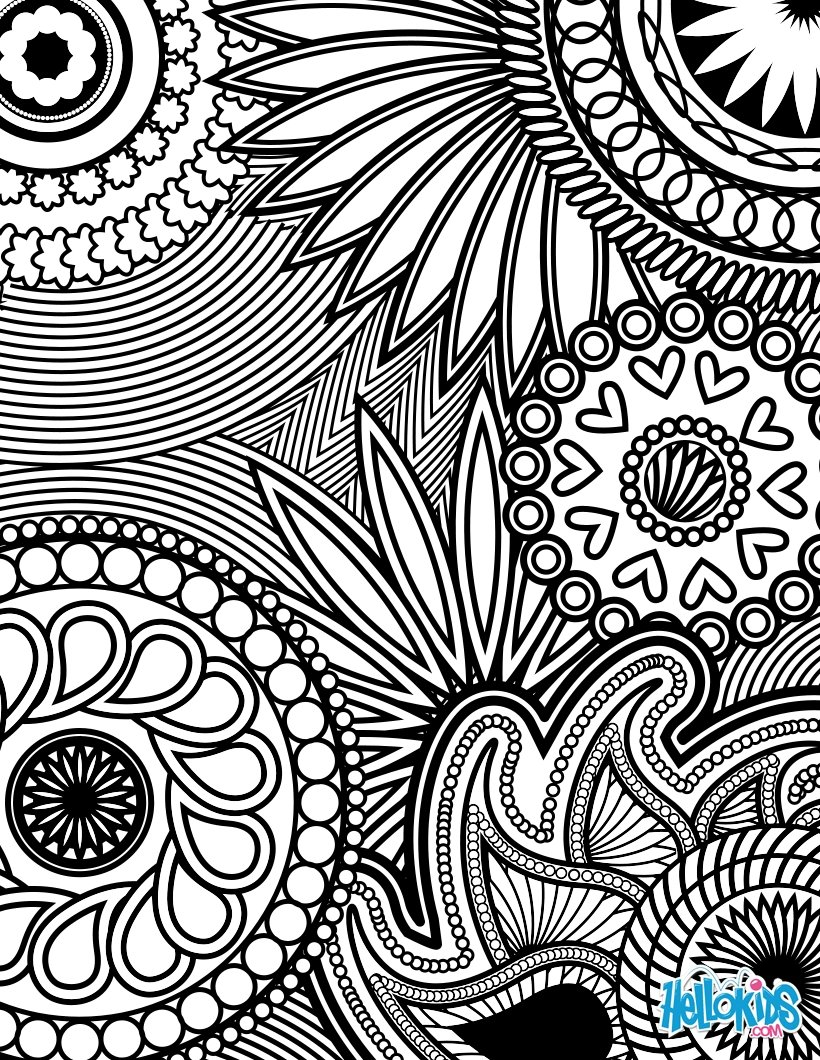 Flowers paisley design paisley hearts and flowers anti stress coloring design coloring page
