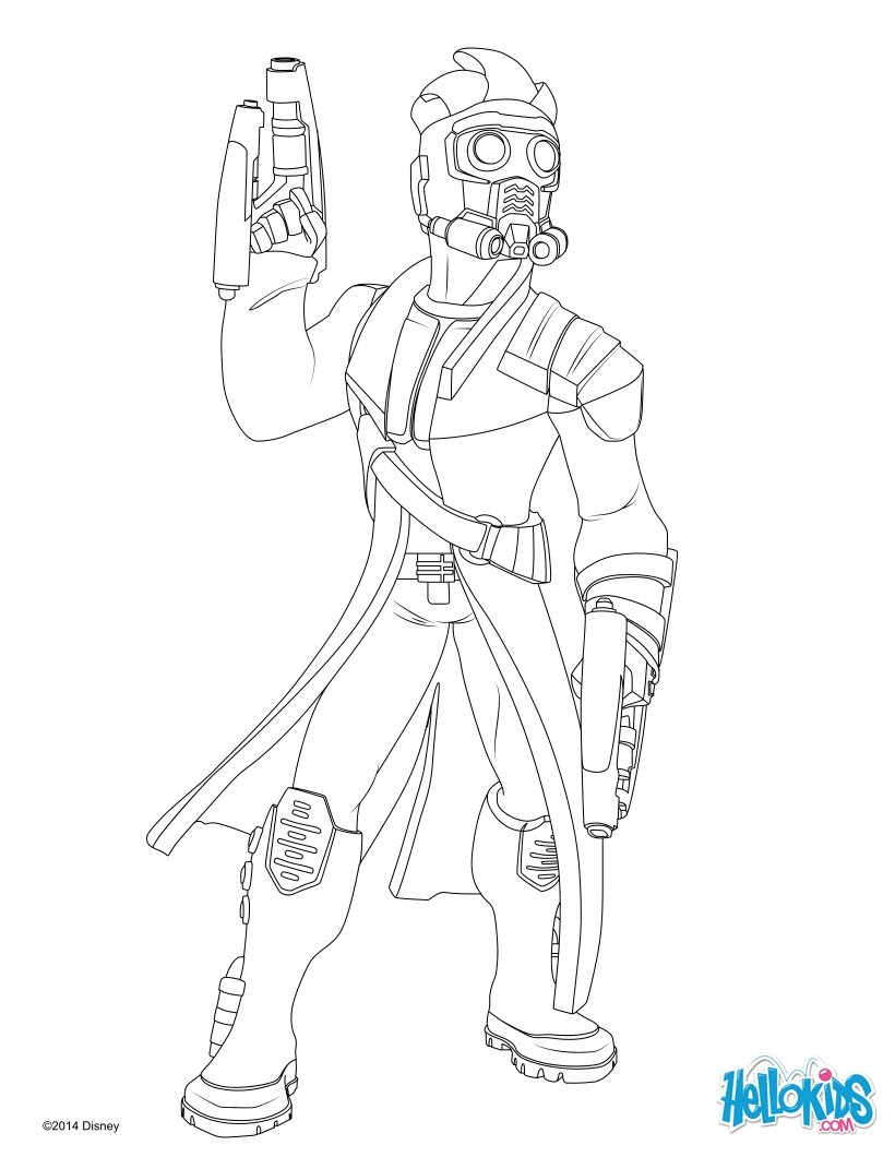 Star lord guardians of the galaxy coloring page color online print