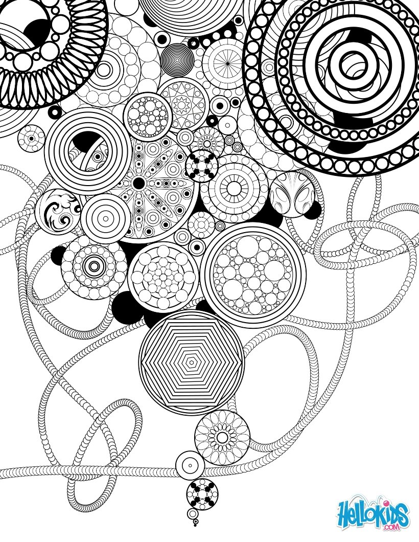 Mandala art d co circles and rosettes coloring page