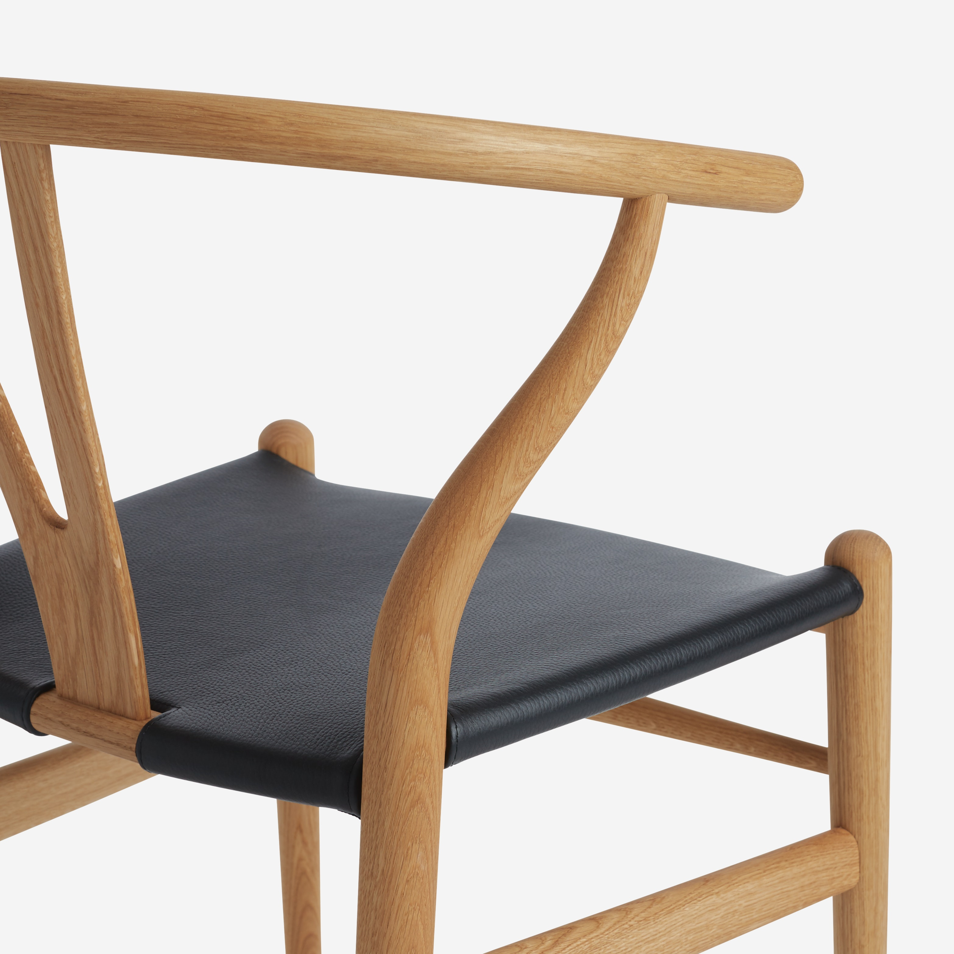 Wishbone Chair With Leather Seat Design Within Reach