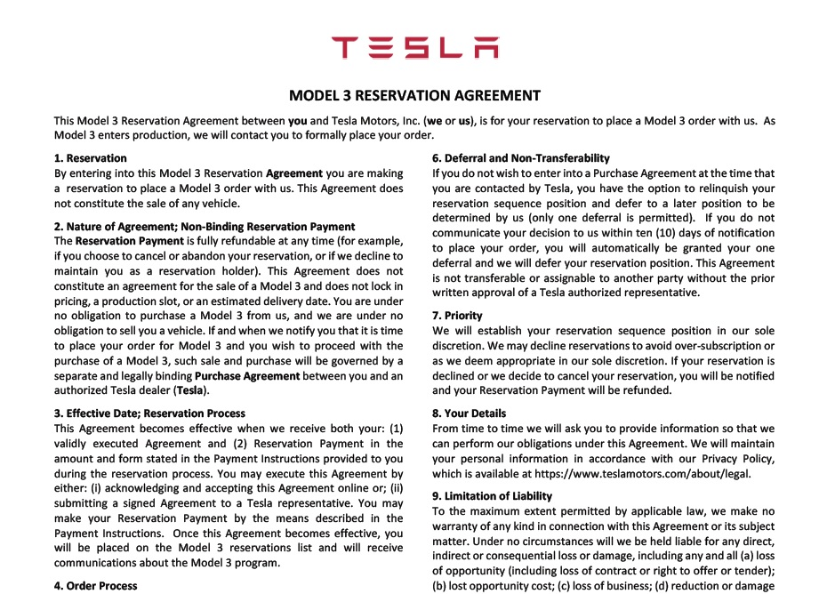 Hereu0027s the Tesla Model 3 reservation agreement for Thursday - production contract agreement
