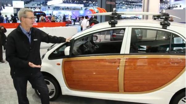 2012 Mitsubishi \u0027i\u0027 Electric Car Woody Trim And Surfboards Too! (Video)