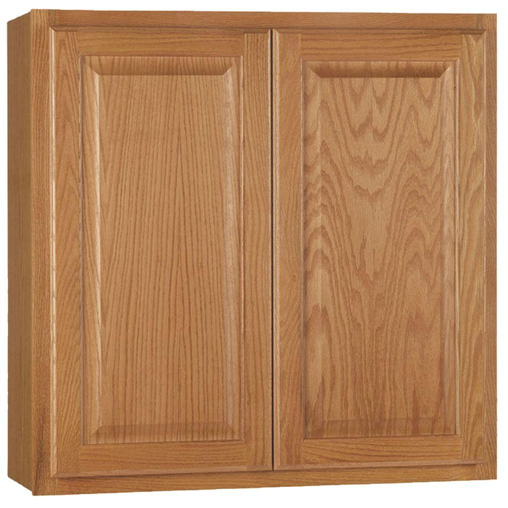 The Home Depot Kitchen Cabinets Hampton Bay Hampton Assembled 30x30x12 In Wall Kitchen Cabinet In Medium Oak