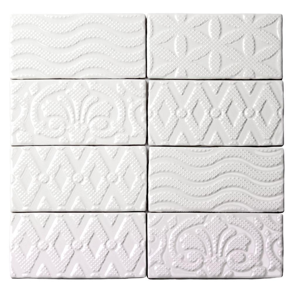 Mix And Match Deco Ivy Hill Tile Catalina Deco White 3 In X 6 In X 8 Mm Ceramic Wall Subway Tile