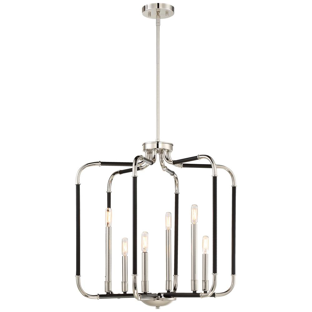 Design Liege Minka Lavery Liege 6 Light Matte Black With Polished Nickel Highlights Pendant
