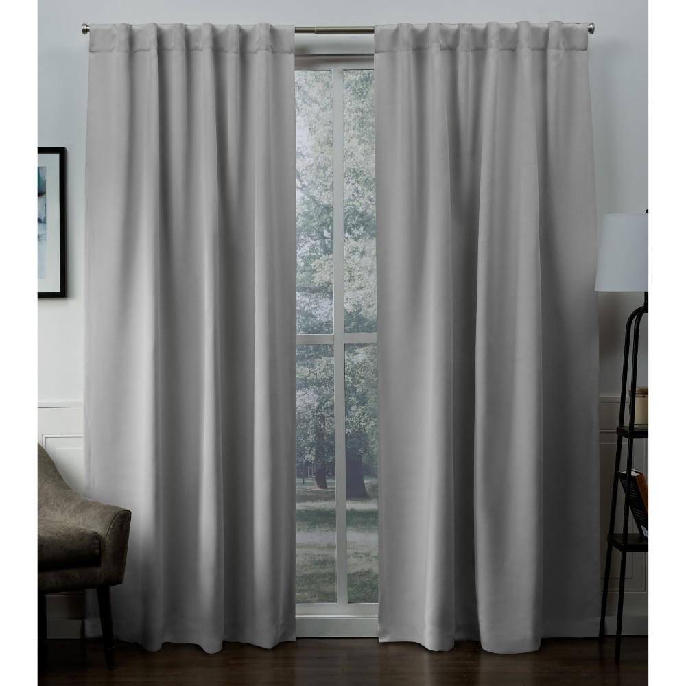 Tab Top Curtain Exclusive Home Curtains Sateen 52 In W X 96 In L Woven Blackout Hidden Tab Top Curtain Panel In Silver 2 Panels