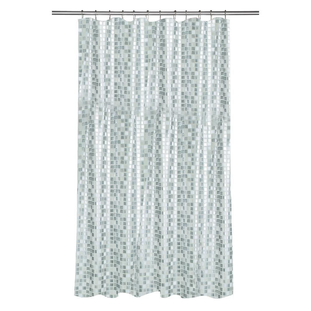 Teal Silver Curtains Croydex Shower Curtain In Mosaic Silver