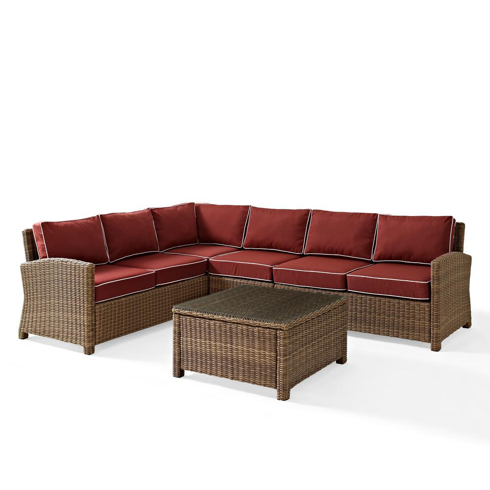 Best Choice Products 5pc Rattan Wicker Sofa Set Instructions Bradenton 5 Piece Wicker Outdoor Sectional Set With Sangria Cushions